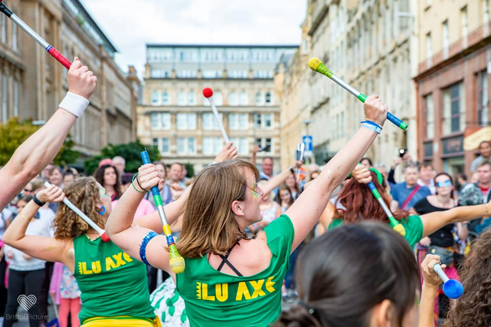 Picture of Ilu Axé drummers in Glasgow 2018